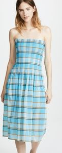 Diane Von Furstenberg Smocked Midi Plaid Dress